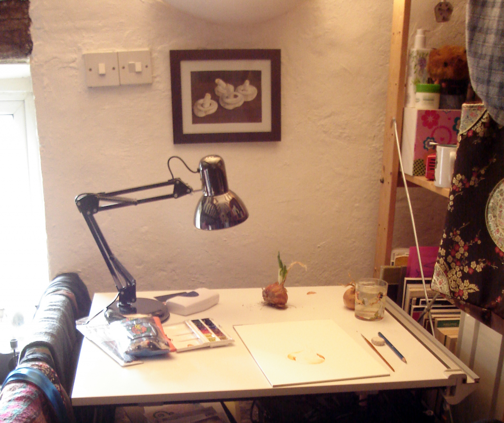 My drawing board while painting an onion