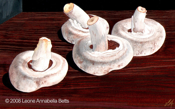 Still life of button mushrooms by Leone Annabella Betts