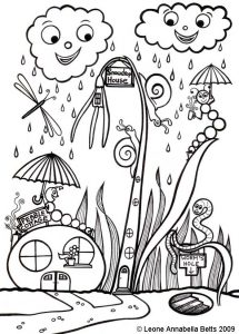 """Snowdrop House and Pebble Cottage"" - a kids colouring picture by Leone Annabella Betts"