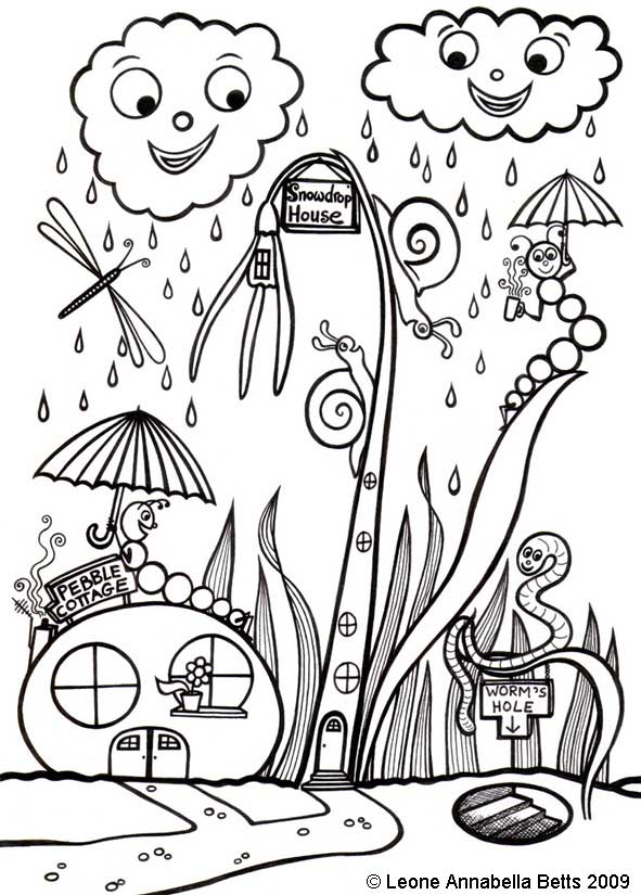 """""""Snowdrop House and Pebble Cottage"""" - a kids colouring picture by Leone Annabella Betts"""