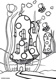 "Picture to colour in of ""Toadstool Town"""