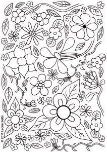 Free printable colouring page of summer flowers.