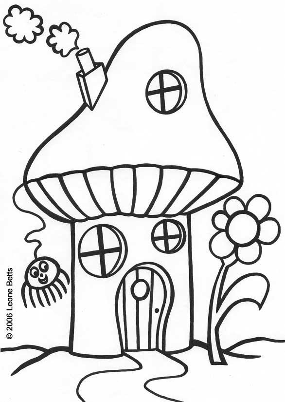 """""""Toadstool House"""" a free coloring page designed by Leone Annabella Betts"""