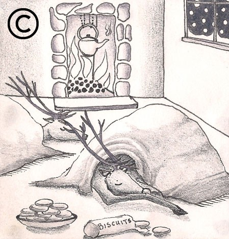 A pencil illustration of a reindeer fast asleep in front of the fire
